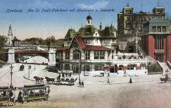 Hamburg, Am St. Pauli-Fährhaus mit Hochbahn und Seewarte