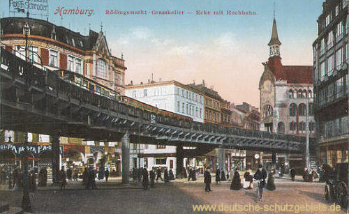 Hamburg, Rödingsmarkt, Graskeller, Ecke mit Hochbahn