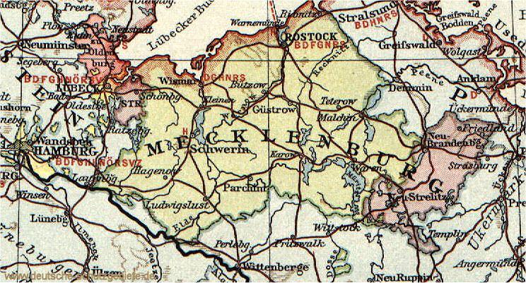 Großherzogtum Mecklenburg-Schwerin, Karte 1914