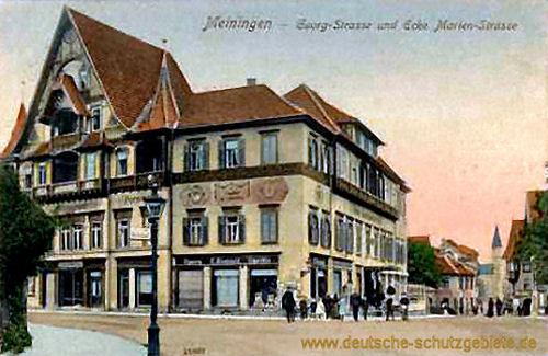 Meiningen, Georgstraße und Ecke Marienstraße
