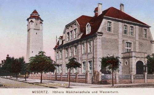 Meseritz, Höhere Mädchenschule und Wasserturm