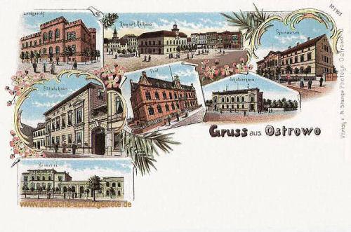 Ostrowo, Landgericht, Ring mit Rathaus, Gymnasium, Ständehaus, Post, Schützenhaus, Brauerei