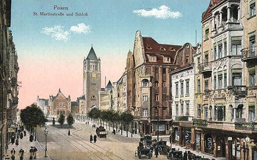 Posen, St. Martinstraße und Schloss