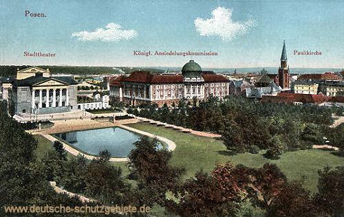 Posen, Stadttheater, Kgl. Ansiedlungskommission, Paulikirche