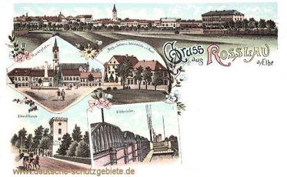 Rosslau, Markt, Elbbrücke, Burg Schloss