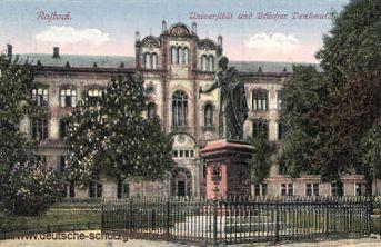 Rostock, Universität mit Blücher-Denkmal