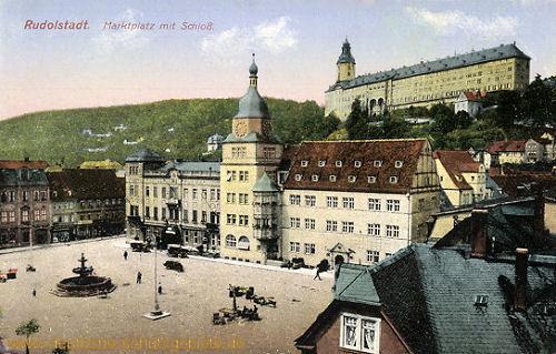 Rudolstadt, Marktplatz mit Schloss