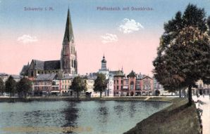 Schwerin i. M., Paffenteich mit Domkirche