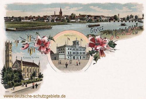 Schwerin an der Warthe, Rathaus und Evangelische Kirche