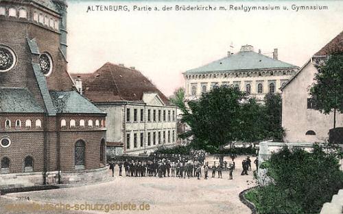 Altenburg, Partie an der Brüderkirche mit Realgymnasium und Gymnasium
