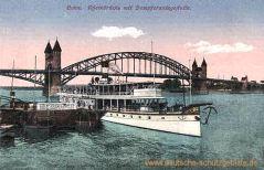 Bonn, Rheinbrücke mit Dampferanlegestelle