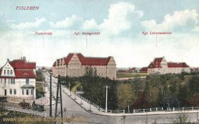 Eisleben, Funktstraße, Kgl. Amtsgericht und Kgl. Lehrerseminar