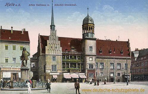 Halle, Altes Rathaus und Händel-Denkmal