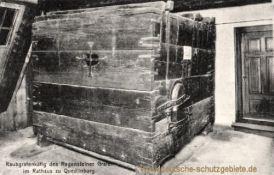 Quedlinburg, Raubgrafenkäfig des Regensteiner Grafen im Rathaus