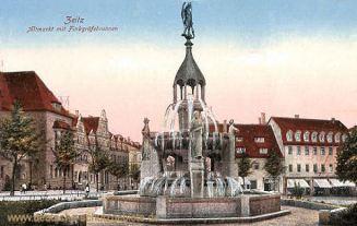 Zeitz, Altmarkt mit Finkgräfebrunnen