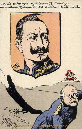 Bismarcks Entlassung, im Hintergrund freut sich Marianne (Frankreich), französische Spottkarte