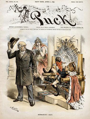 """Bismarcks Exit"" von J. Keppler in ""PUCK"", New York April 2. 1890"