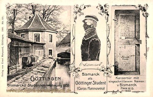 Bismarcks Studentenwohnung in Göttingen, 1833