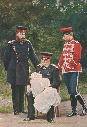 """Hurra 4 Kaiser"" , v.l.n.r. Friedrich III., Kronprinz Friedrich Wilhelm (Baby), Wilhelm I, Wilhelm II. (1888)"