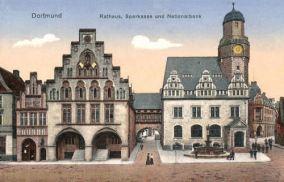 Dortmund, Rathaus, Sparkasse und Nationalbank