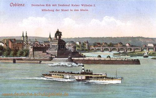 Koblenz, Deutsches Eck mit Denkmal Kaiser Wilhelm I. Mündung der Mosel in den Rhein