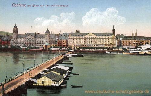 Koblenz am Rhein mit der Schiffsbrücke
