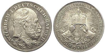 100. Geburtstag Wilhelm I., Deutscher Kaiser, Medaille 1897