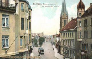 Solingen, Cronenbergstraße mit Katholischer Kirche