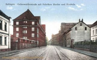 Solingen, Grünewalderstraße mit Fabriken Herder und Henkels