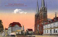 Solingen, Mühlenplätzchen, Kriegerdenkmal, Kath. Kirche, Deutsche Bank