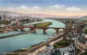 Trier, Kaiser-Wilhelm-Brücke und Römerbrücke