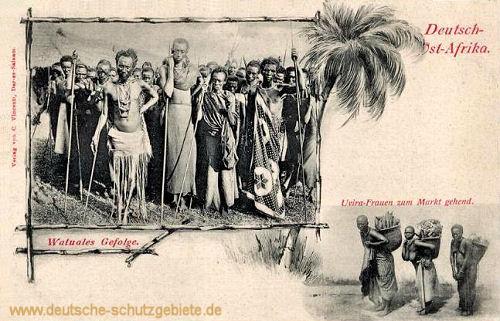 Deutsch-Ost-Afrika, Watuales Gefolge, Uvira-Frauen zum Markt gehend