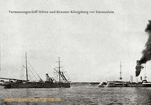 Vermessungsschiff Möwe und S.M.S. Königsberg vor Daressalam