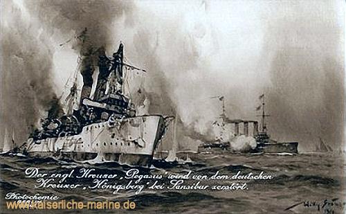 Der englische Kreuzer Pegasus wird von dem deutschen Kreuzer Königsberg bei Sansibar versenkt