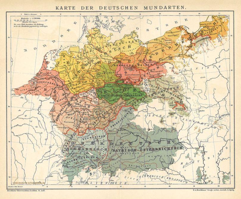 Karte der Deutschen Mundarten um 1900