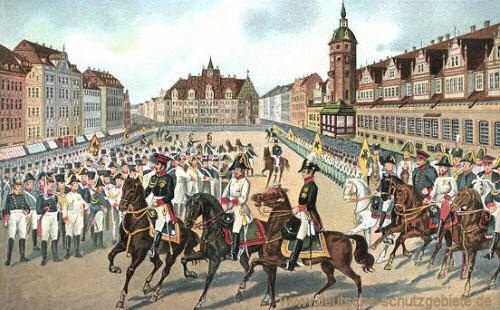 Leipzig, Einzug der Monarchen am 19. Oktober 1813 (Kaiser Franz I. von Österreich, Zar Alexander I. von Rußland und König Friedrich Wilhelm III. von Preußen)