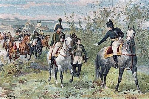Napoleon I. und Zar Alexander treffen sich vor den Toren Erfurts, 1808