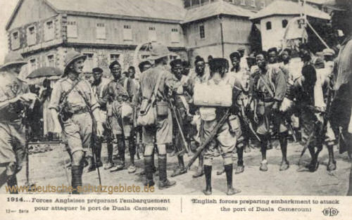 1914 English forces preparing embarkment to attack the port of Duala Cameroun