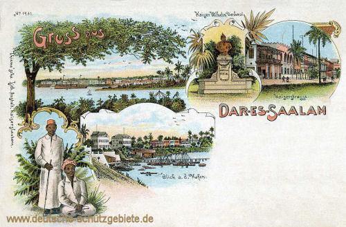 Deutsch-Ostafrika, Daressaalam, Blick auf den Hafen, Kaiserstraße, Kaiser Wilhelm-Denkmal