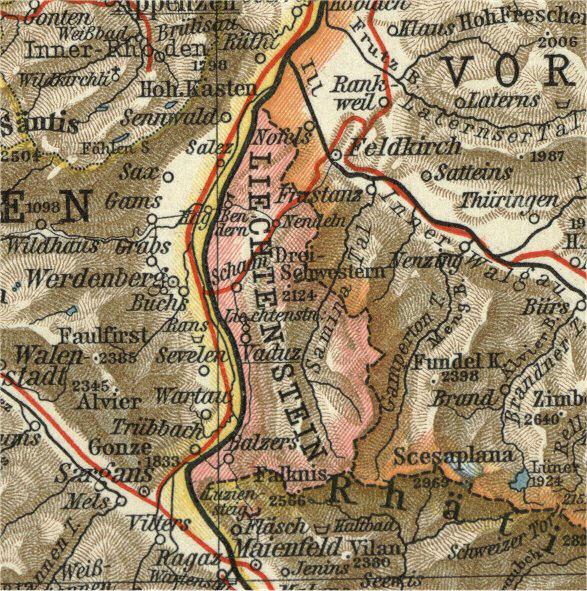 Liechtenstein, Landkarte 1900