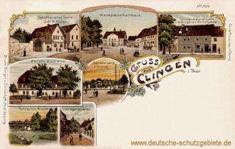 Clingen, Marktplatz mit Rathaus
