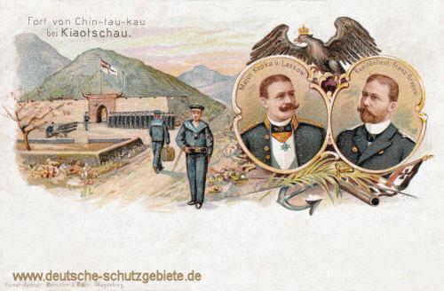 Kiautschou, Fort von Chin-tau-kau. Major Kopka von Lassow und Kapitänleut. Franz Grapow