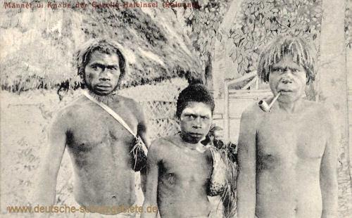 Deutsch-Neu-Guinea, Männer und Knabe der Gazelle-Halbinsel (Raluna)