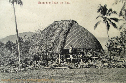 Samoa, Samoaner Haus im Bau