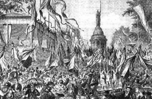 """Die Einweihung des Hermanndenkmals, aus """"Die Gartenlaube"""", 1875"""