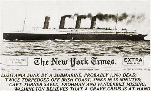 """""""Lusitania sunk by a submarine"""", The New York Times vom 8. Mai 1915"""