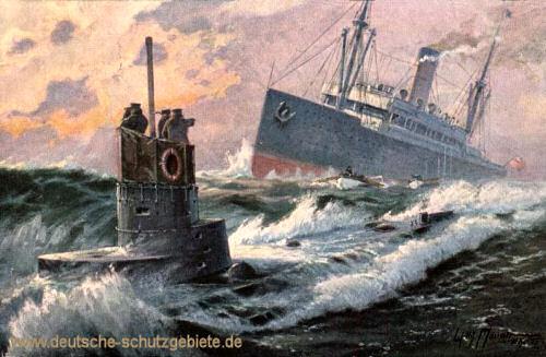 U-Boot torpediert englischen Dampfer