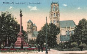 Münster i. W., Ludgeriakirche mit der Mariensäule