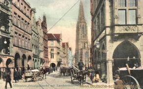 Münster i. W., Prinzipalmarkt am Sonntag mit Lambertikirche