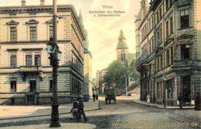 Witten, Marktplatz mit Rathaus und Johanniskirche